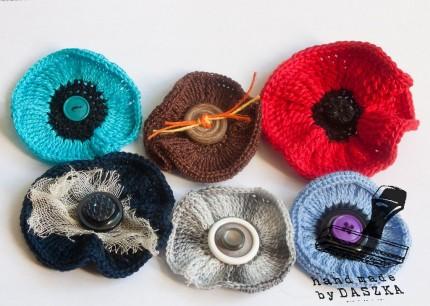 broszki kwiaty szydełkowe 2013r.
