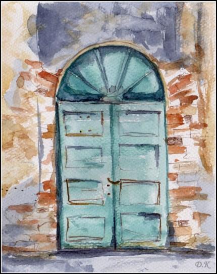 drzwi, akwarela i piórko 2014r.